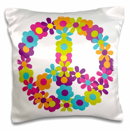 3dRose Peace Sign Made Up Of Blue, Pink, Purple, and Green Flowers - Pillow Case, 16 by 16-inch ()