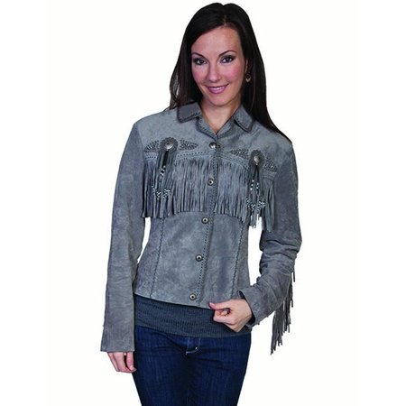 - Scully Western Jacket Womens Leather Beaded Fringe Fitted L152