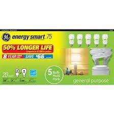 Ge Energy Smart 20-watt White Spiral CFL Light Bulbs 5-pk.