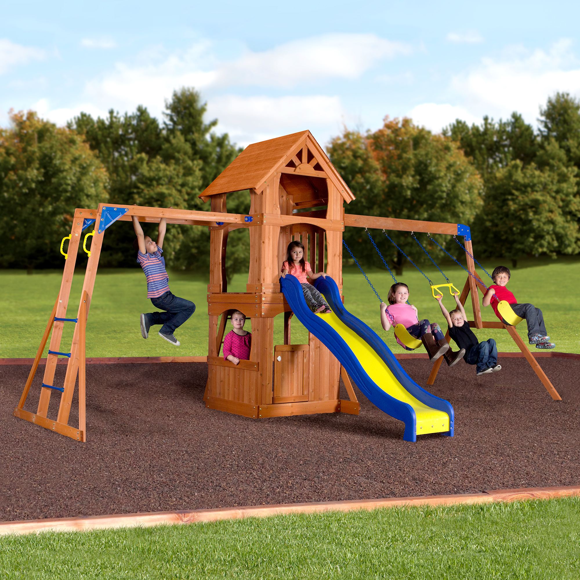 Backyard Discovery Parkway Wooden Swing Set