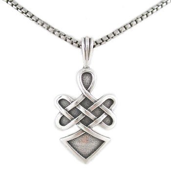 Celtic Knot Pendant With Warrior Spirit Inscription In Sterling