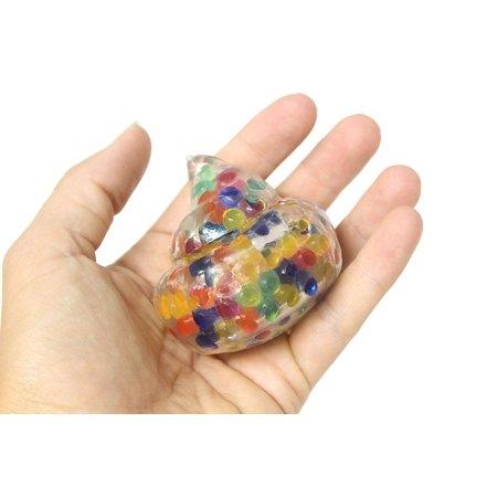 3 Water Bead Filled Rainbow Poop Squeeze Stress Ball - Poo Sensory, Stress, Fidget Toy - Rainbow Poop