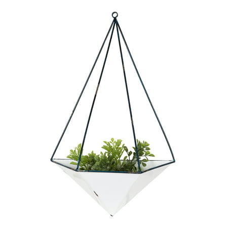 Kate and Laurel - Pendel Decorative Geometric Hanging Metal Planter Pot for Indoor Wall Decor, Distressed White and Blue Enamel (Geometric Metal Wall Decor)