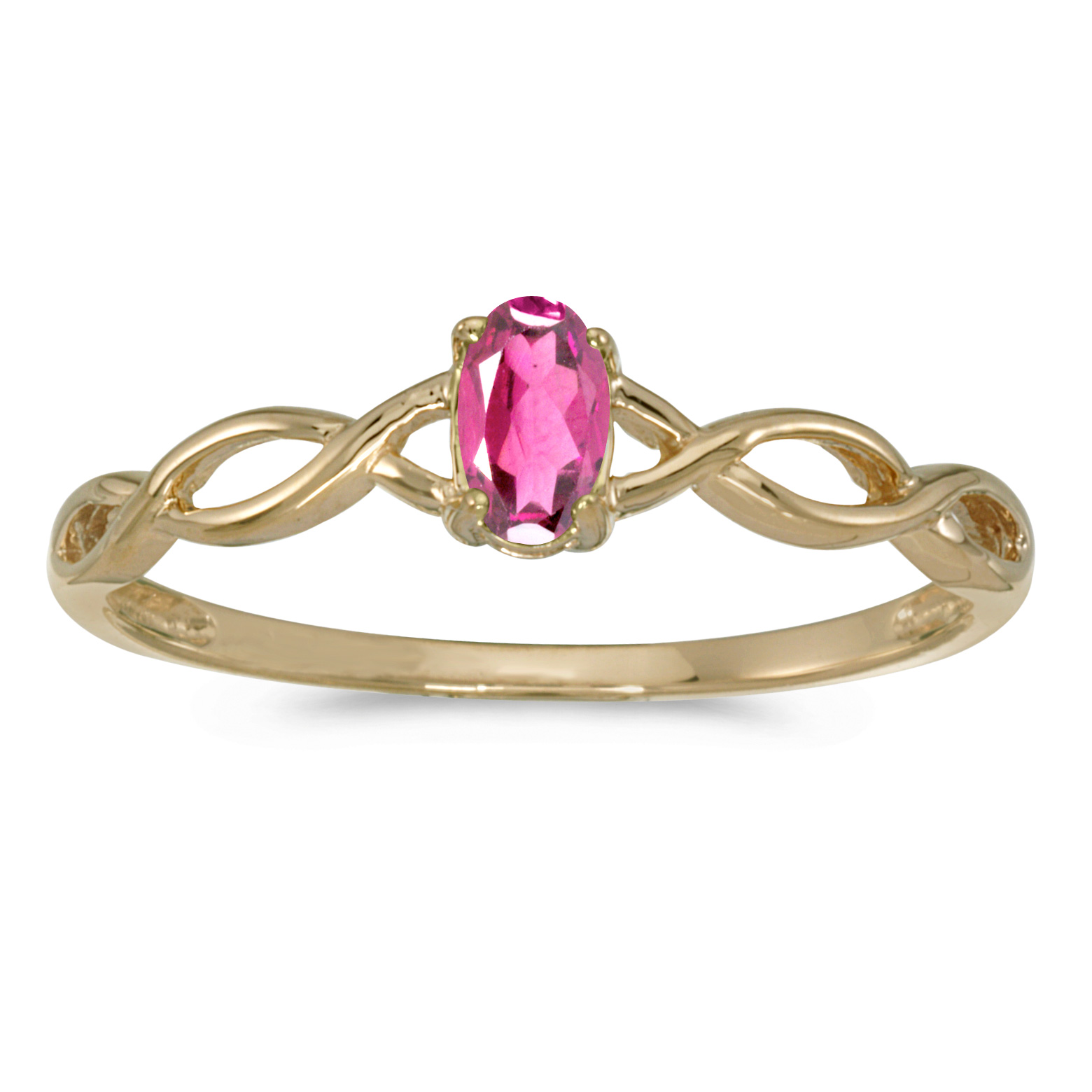 14k Yellow Gold Oval Pink Topaz Ring by