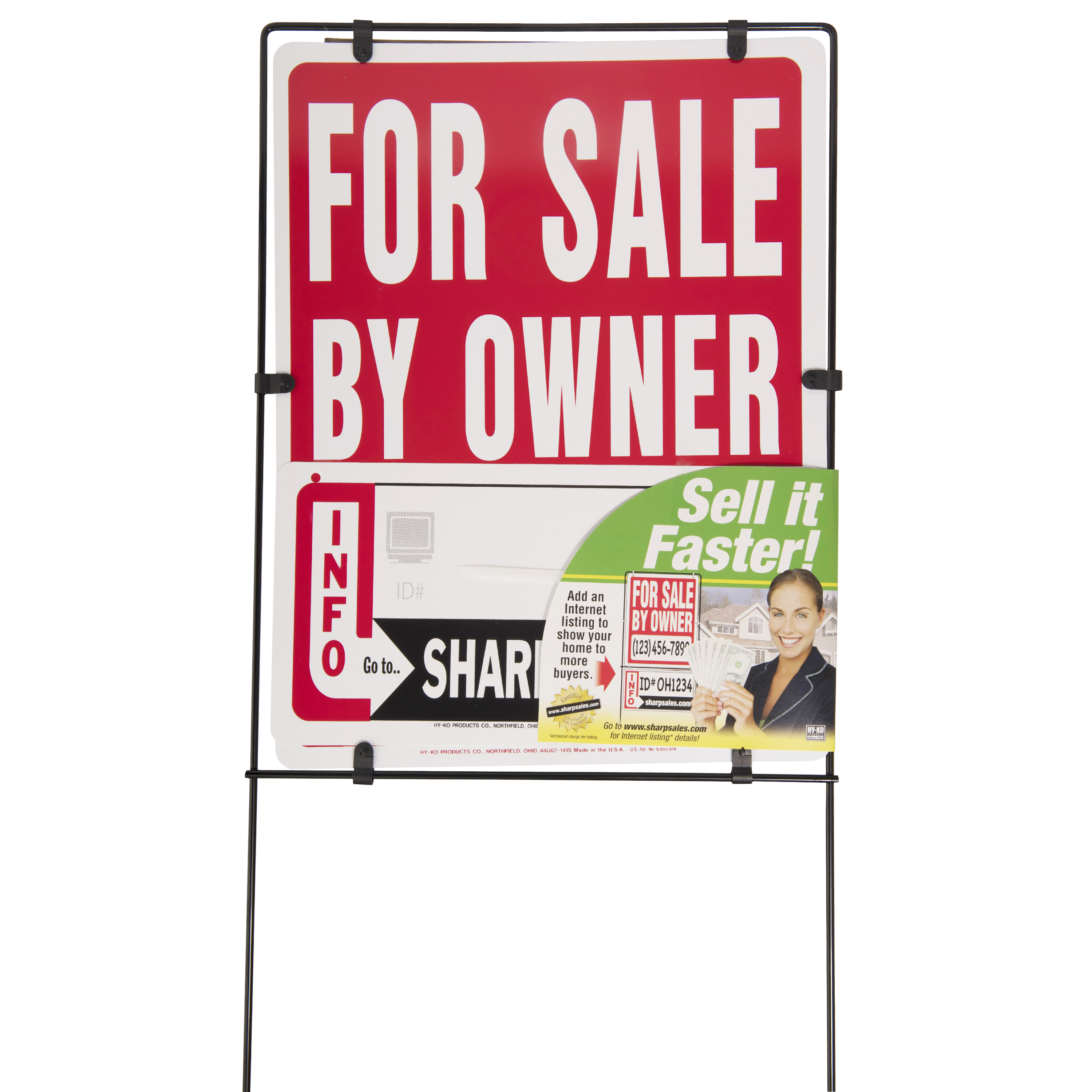 Hy-Ko Plastic Real Estate For Sale By Owner Sign with Frame, 14� x 41� by Hy-Ko