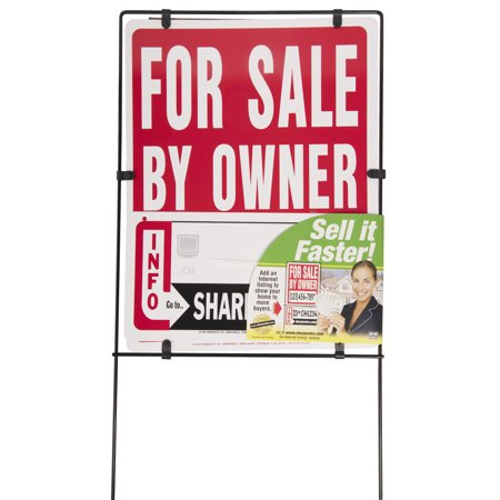 "Hy-Ko Plastic Real Estate For Sale By Owner Sign with Frame, 14"" x"