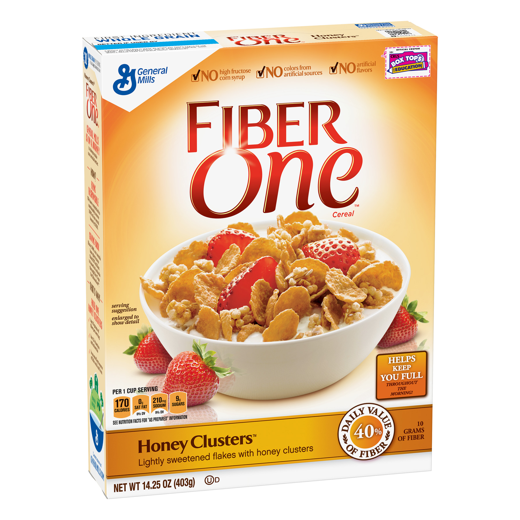 Fiber One Cereal, Honey Clusters, Whole Grain Cereal 14.25 Oz