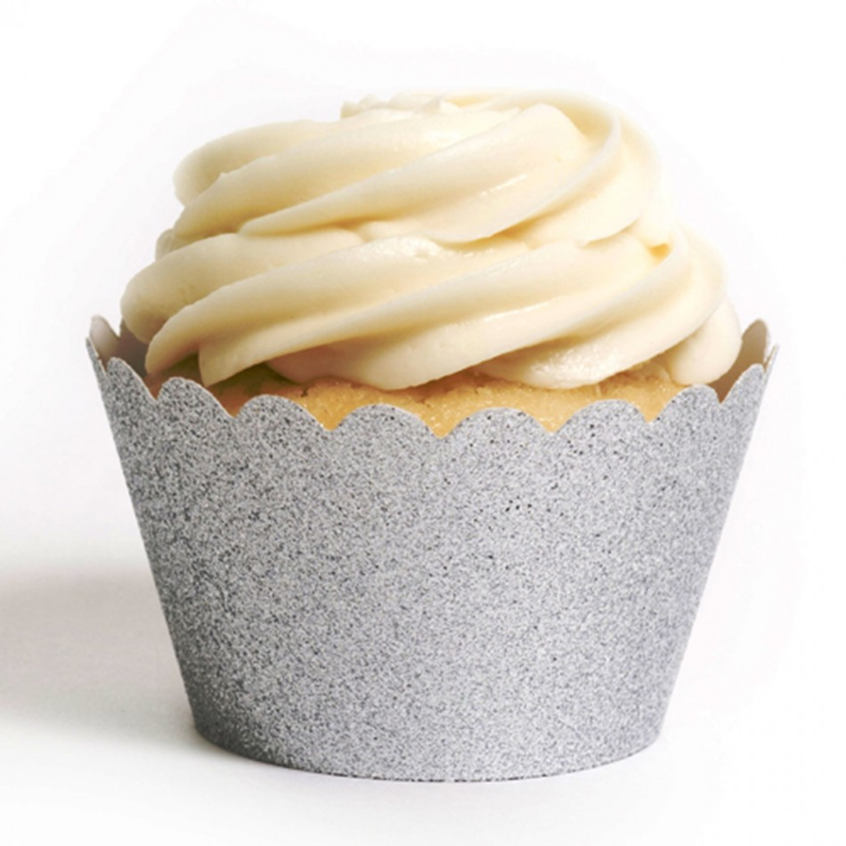 Dress My Cupcake Standard Silver Reusable Glitter Cupcake Wrappers, Set of 12