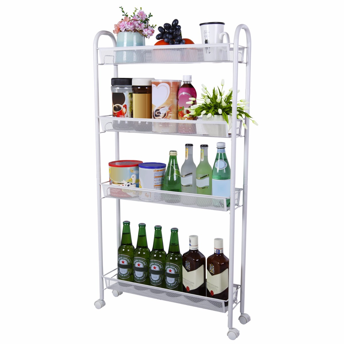 Charmant Lifewit 4 Tier Slim Gap Storage Rolling Cart With Omnidirectional Casters,  Slide Out