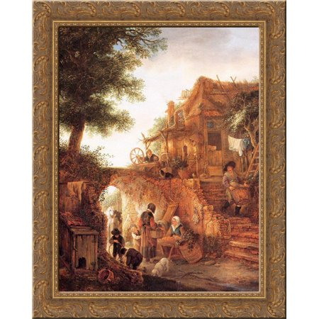 Woman Selling Fruit By A Cottage 20X24 Gold Ornate Wood Framed Canvas Art By Ostade  Isaac Van