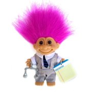 Russ Berrie My Lucky Attorney Lawyer Troll Doll Wdark Pink Hair