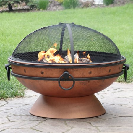 Round Fire Bowl - Sunnydaze Large Copper Fire Pit Bowl, Outdoor Round Wood Burning Patio Firebowl with Portable Handles and Spark Screen, 30 Inch
