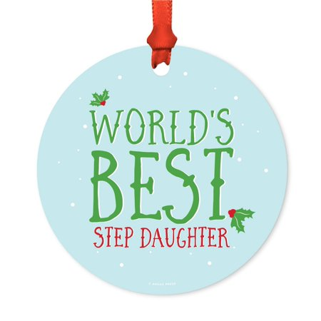 Metal Christmas Ornament, World's Best Step Daughter, Holiday Mistletoe, Includes Ribbon and Gift