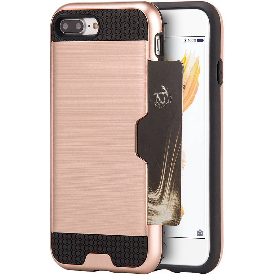 Apple iPhone 7 Plus Hybrid Card to Go Case Silk Back Plate, Rose Gold