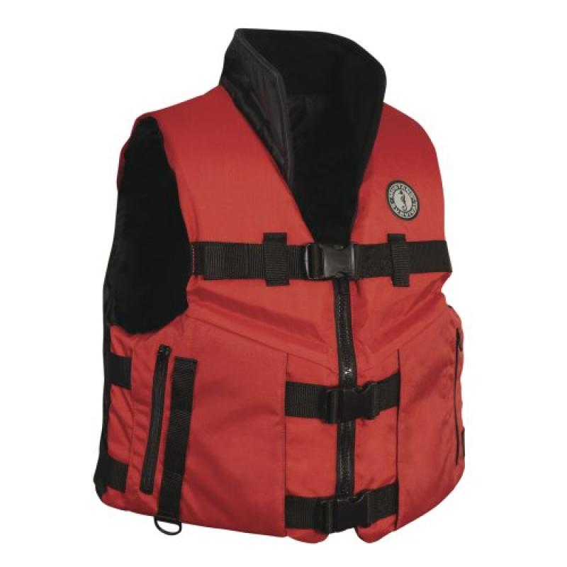 The Excellent Quality Mustang Accel 100 Fishing Vest Red Black Medium by