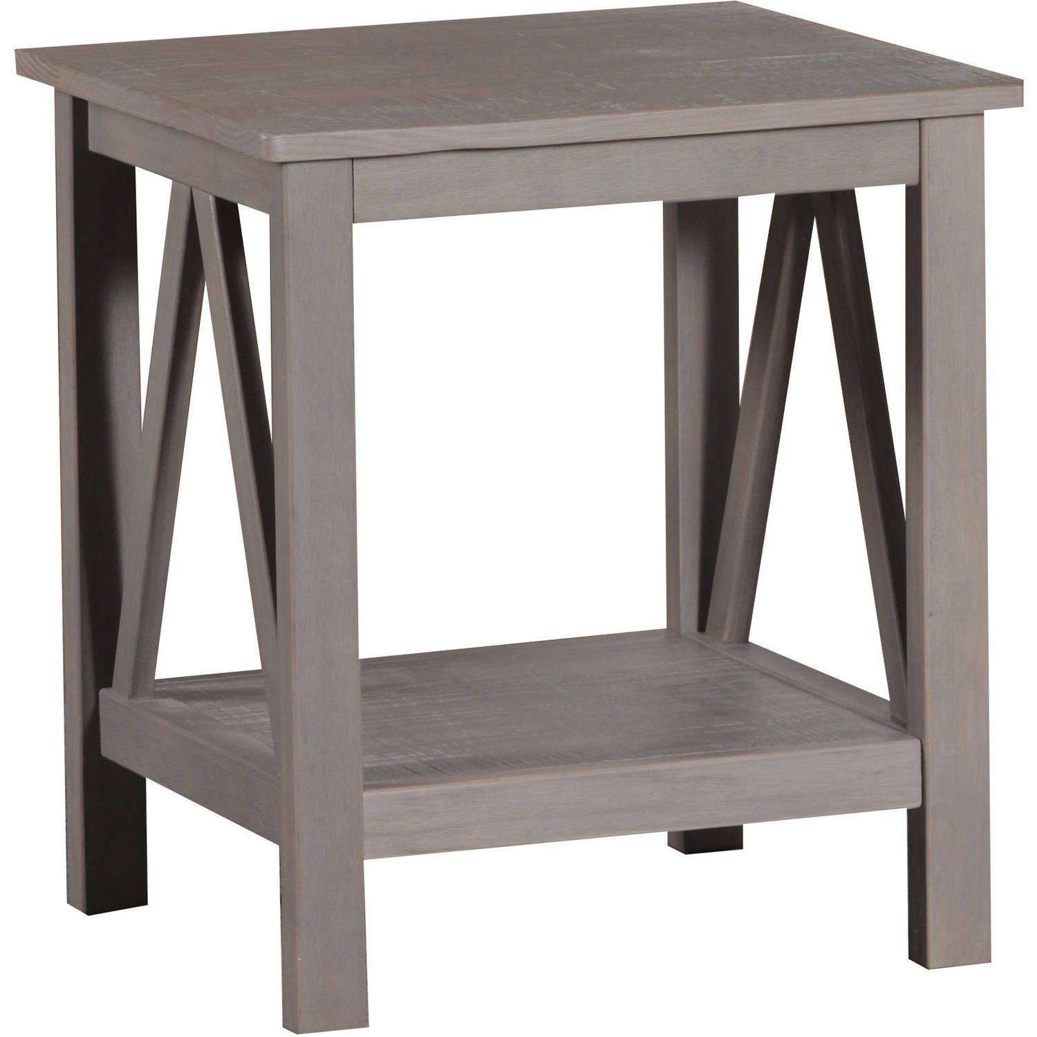 Linon Titian End Table with Bottom Shelf 22 inches Tall Rustic