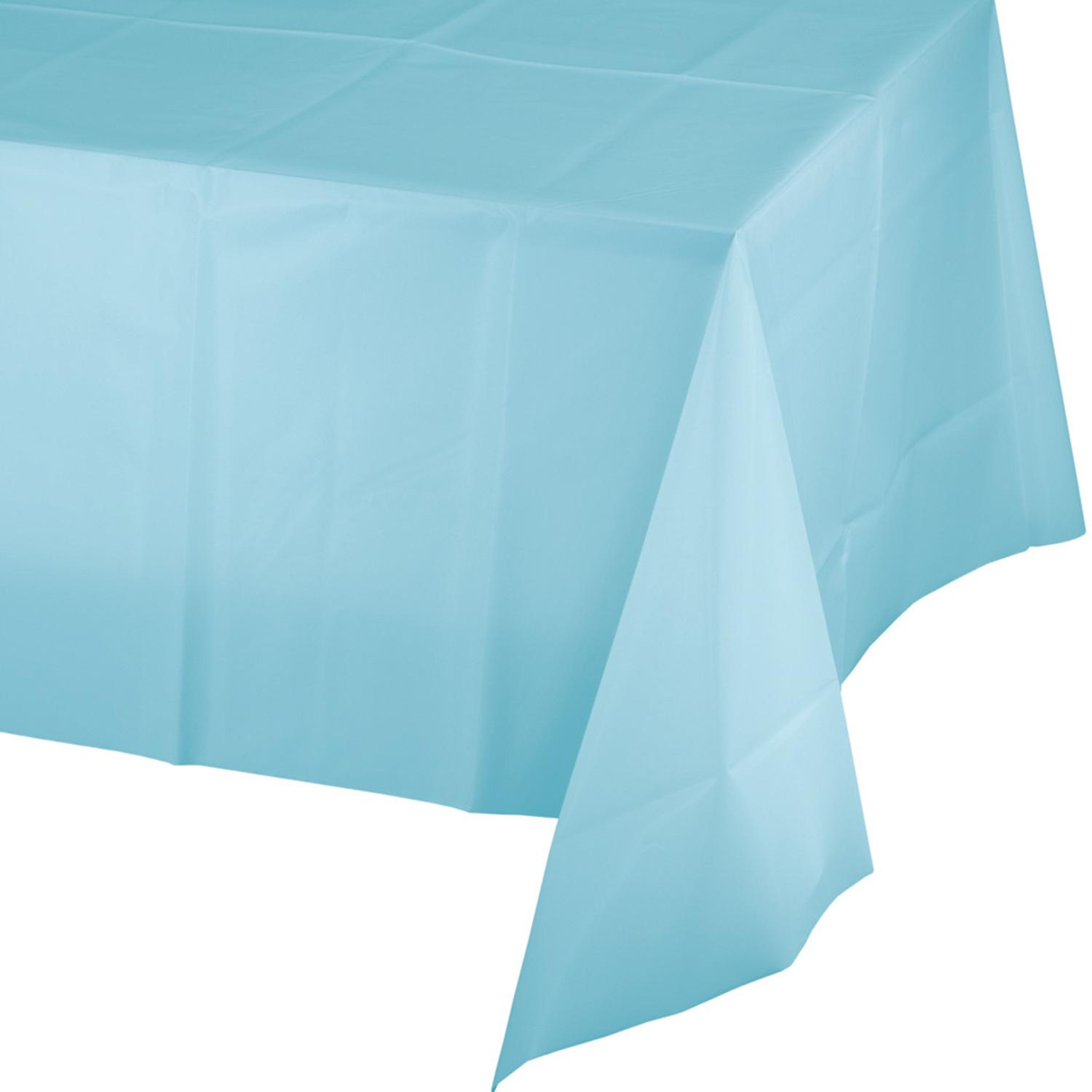 Club Pack of 24 Pastel Blue Disposable Plastic Picnic Party Table Covers 9'