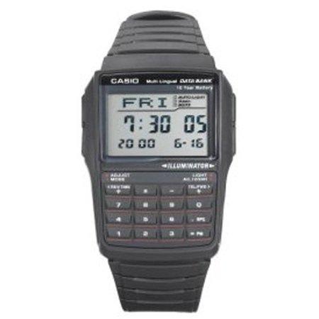 Casio Mens Data Bank Calculator Watch  Black Resin Strap