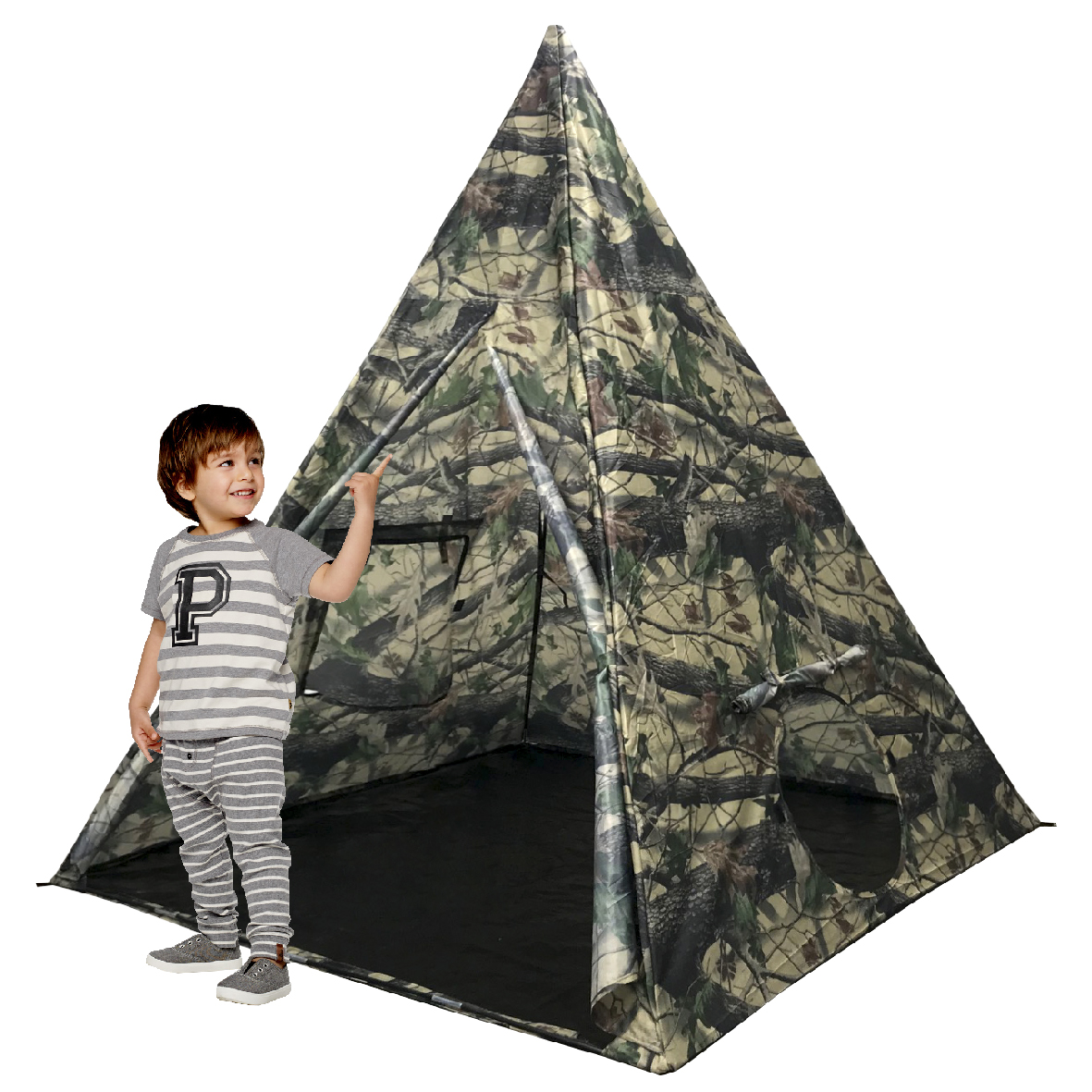 EasyGoProducts 6 Feet High 5-Sided Durable Teepee Kids Tent – Toddlers – Adults – Dogs – Indoor - Outdoor Tee Pee Tent w