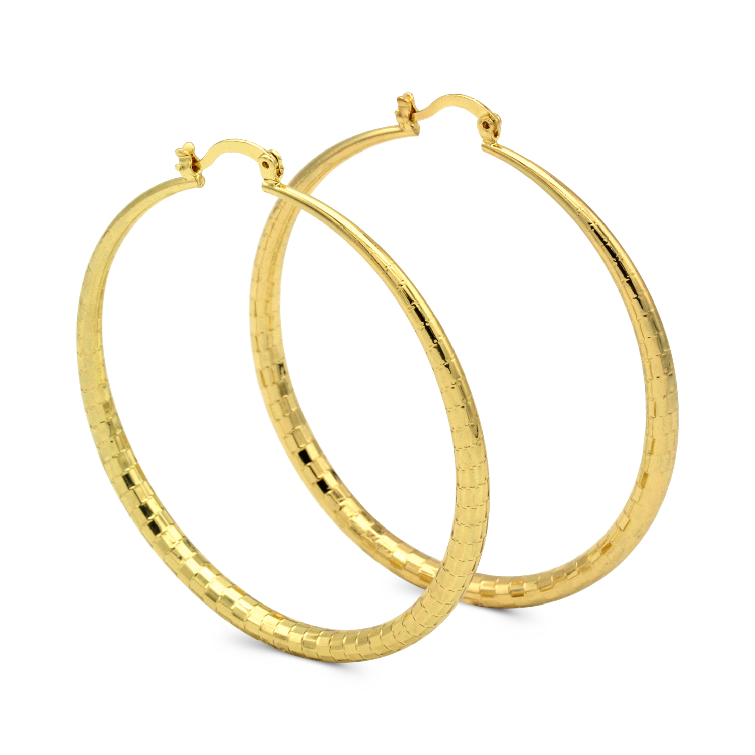 Hoop Earrings 14k Gold Plated Filled Fashion Stainless Steel Jewelry Circle Scale Designed Earring For Women 50mm - image 5 de 5