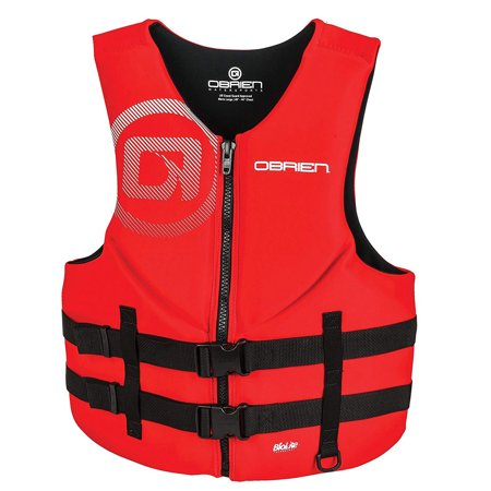 OBrien Biolite Series Traditional Mens Neoprene Life Vest Size M, Red (6 Pack)