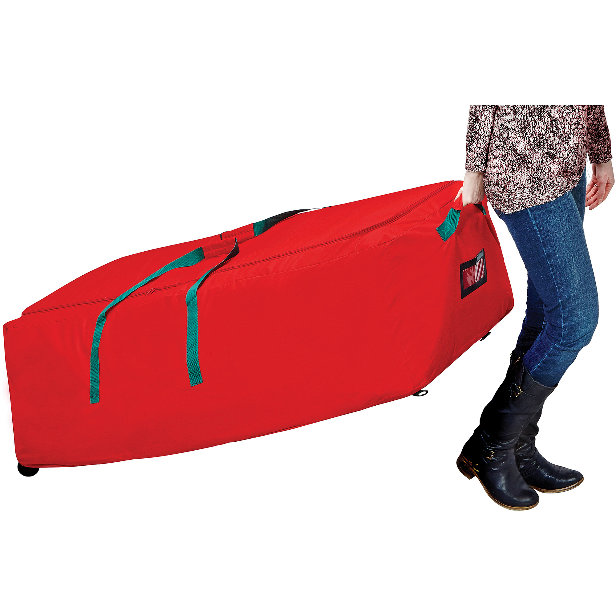 Simplify Christmas Supreme Tree Storage Bag with Wheels, Red