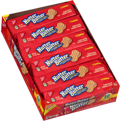 Nabisco Nutter Butter Peanut Butter Sandwich Cookies Packs 2 Go! Single Serve, 12ct