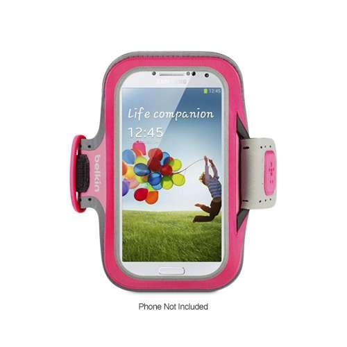 Belkin Slim-Fit Armband - For Samsung Galaxy S4, Adjustable Strap, Easy-to-Adjust Loop, Clear Screen Protection, Pink,