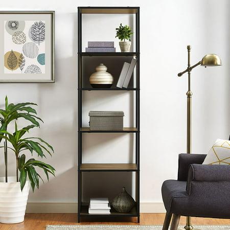 Mainstays Atmore Industrial Barnwood 5-Shelf Media Tower Series 5 Shelf Audio Cabinet