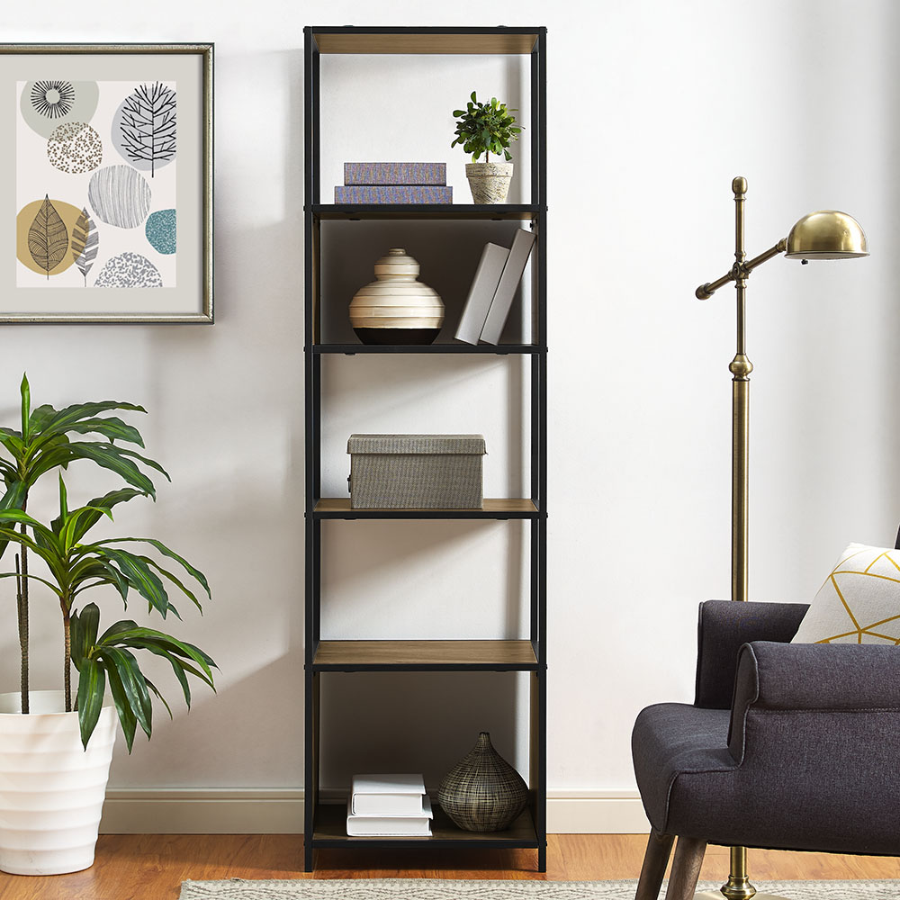 "Mainstays Atmore 70"" Industrial Media Bookcase Tower"