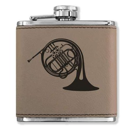 Faux Leather Flask - French Horn - Light Brown