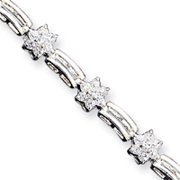 Sterling Silver CZ Floral Bracelet - 8 Inch - Box Clasp
