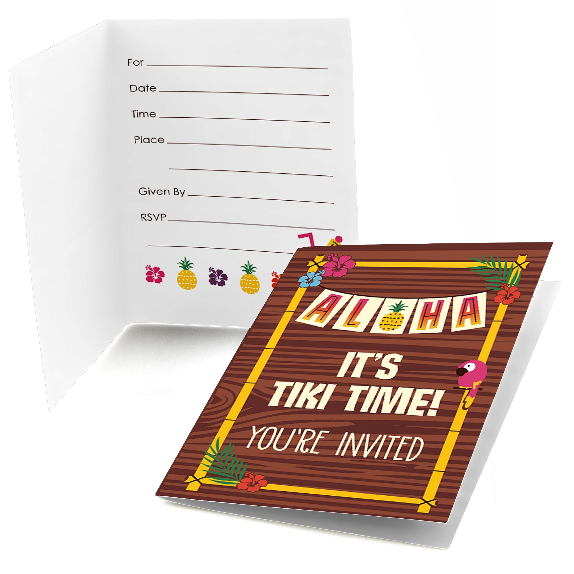 Tiki Luau - Fill In Tropical Hawaiian Summer Party Invitations (8 count)