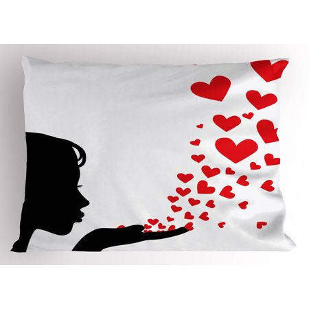 Kiss Pillow Sham Pretty Girl Black Silhouette Blowing Red