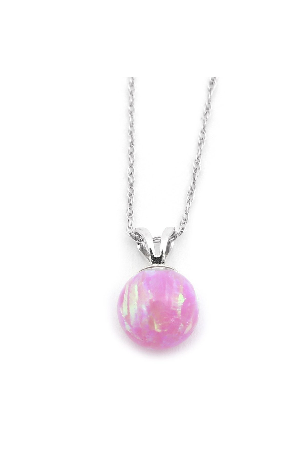 """14k Yellow or White Gold 5mm Pink Simulated Opal Pendant Necklace, 13"""" 15"""" 16"""" 18"""" 20"""" 22"""" by"""