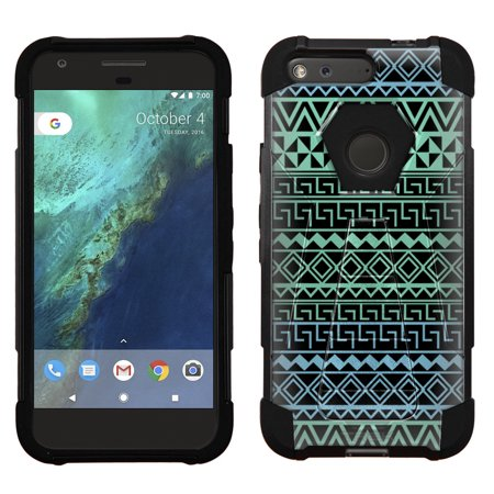 Google Pixel Hybrid Stand Case - Aztec Andes Green Turquoise Tribal on Black
