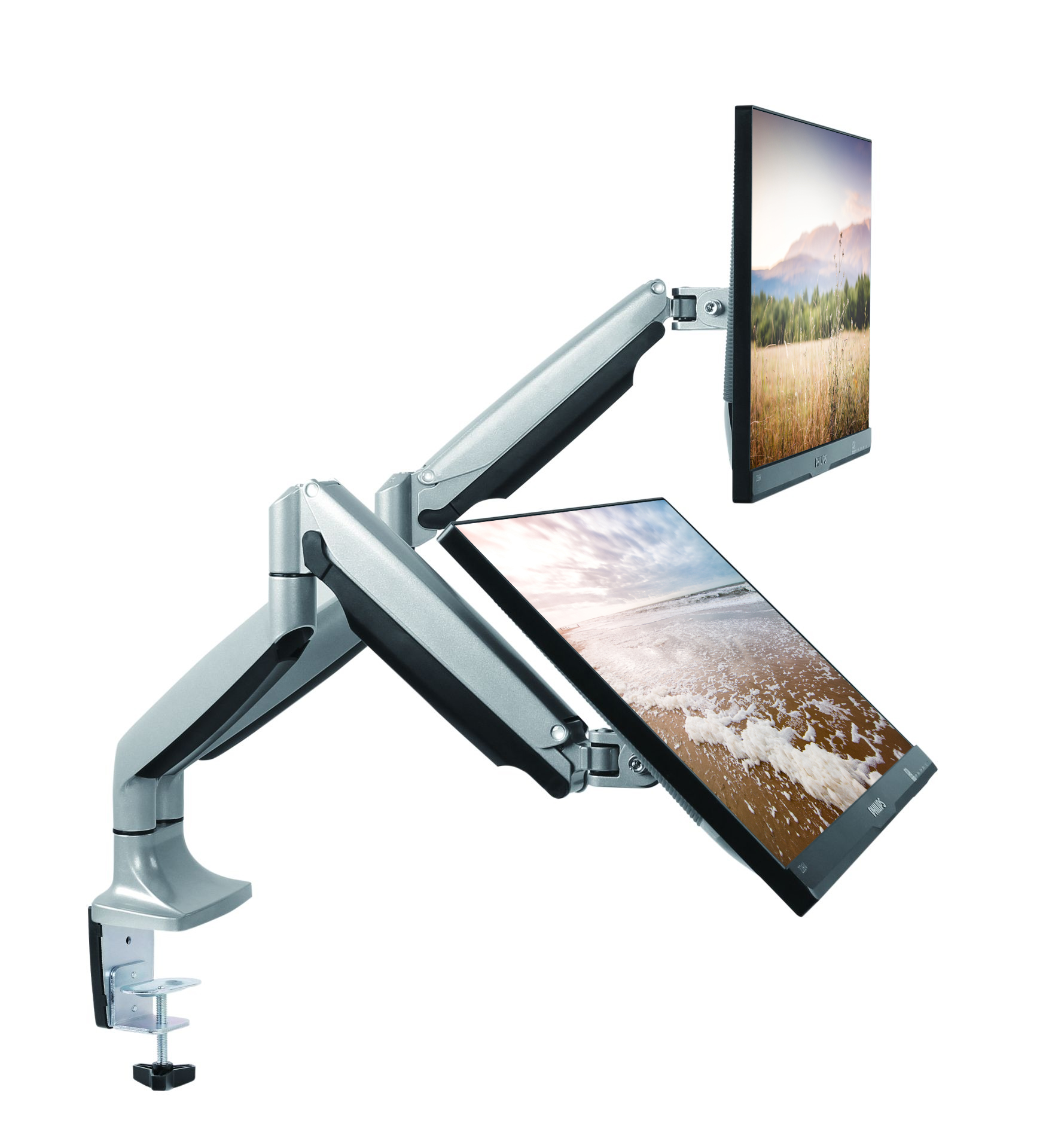 TechOrbits Triple / Double / Single Monitor Mount Stand - Computer Screen Desk Gas Spring Arm