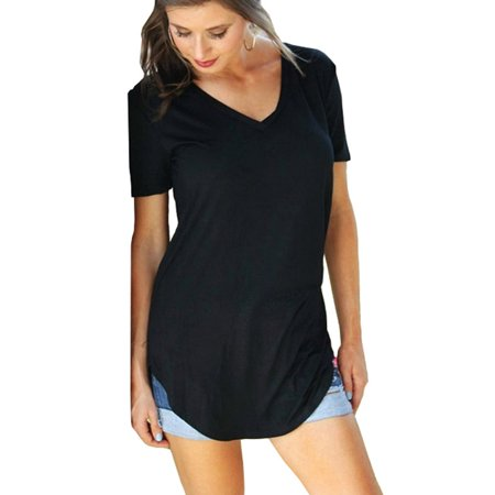 Women's Plus Size Short Sleeve V Neck Tunic (Black Tonic)
