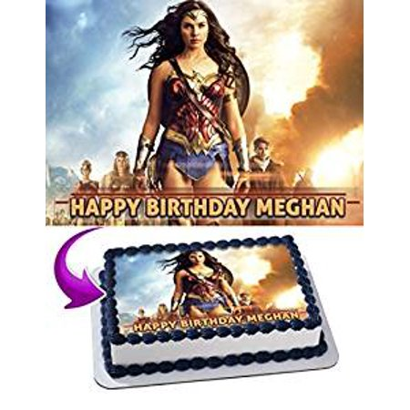 Wonder Woman Edible Cake Image Topper Personalized Icing Sugar Paper A4 Sheet Edible Frosting Photo Cake 1/4 Edible Image for cake
