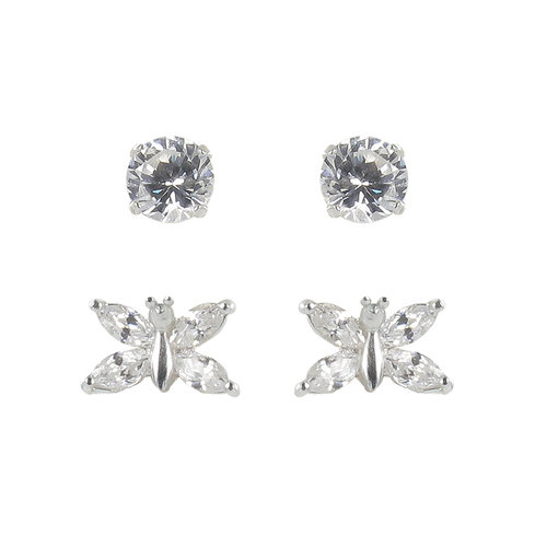 CZ Sterling Silver Stud and Butterfly Earrings, 2 Pairs