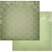 "Vintage Rose Garden Double-Sided Paper 12""X12""-Green Damask"