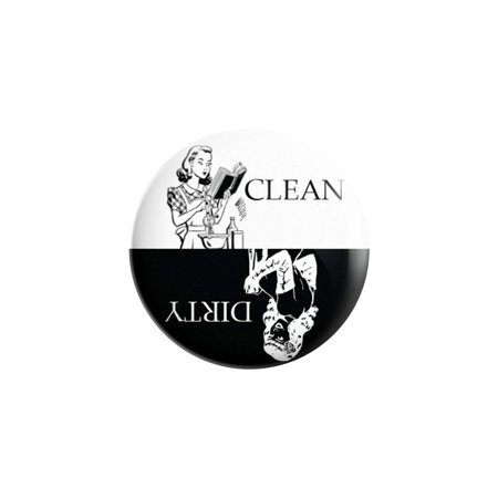 Dishwasher Magnet Clean Dirty Sign - 3 Inch Round Black & White Refrigerator Magnets -  Funny Housewarming Gifts by Flexible -
