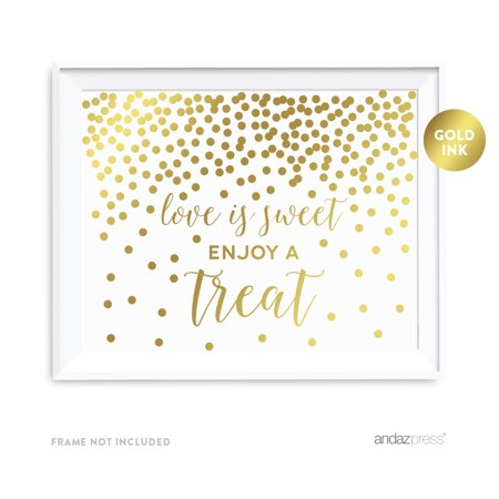 Metallic Gold Confetti Polka Dots 8.5x11-inch Party Sign, Love is Sweet, Enjoy a Treat Dessert Table Sign, Unframed - Polka Dot Party