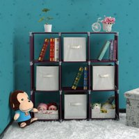3 Tiers 9 Cubes Storage Shelf Organizers, Book Shelf Cube Storage Shelf for Clothes, Bookcase Plastic Storage Cabinets for Bedroom Living Room Office - Dark Brown