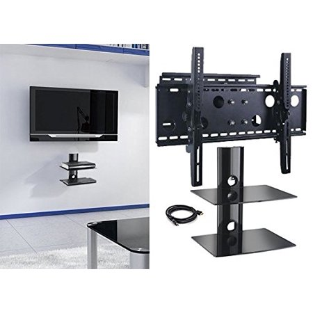 2xhome TV Wall Mount Bracket & Double Shelf Package and HDMI Cable Secure Cantilever LED LCD Plasma Smart 3D WiFi Flat Panel Screen Monitor Display Large Displays Long Swing Out Single Arm Extending