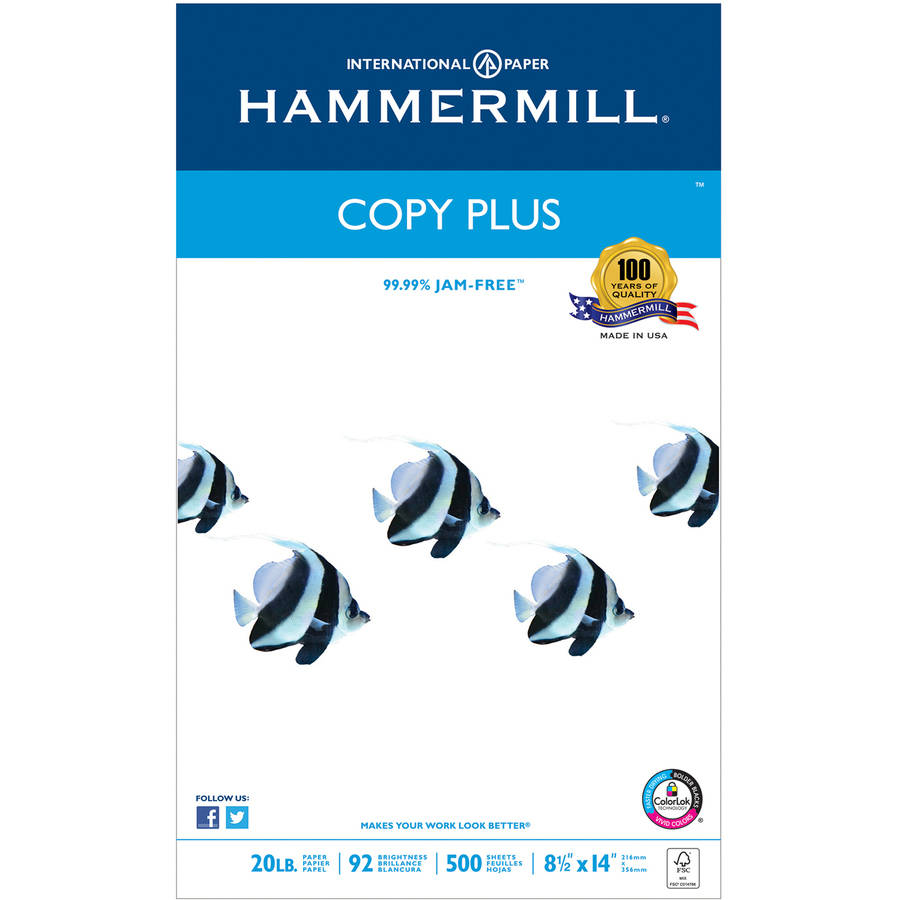 Hammermill Copy Plus Copy Paper, 92 Brightness, 20lb, White, 500 Sheets/Ream