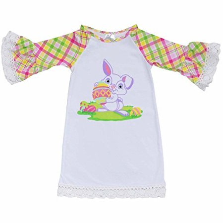 Unique Baby Girls Bunny Easter Shirt Dress (5T/L, White) (Easter Girls Dresses)
