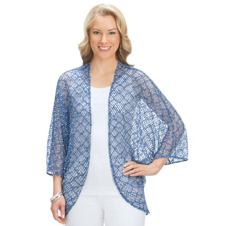 Women's Open Front Cocoon Cardigan Shrug Sweater for Dresses, Tanks, Shirts, Medium/Large, Blue - Made in the (Cocoon Cardigan)