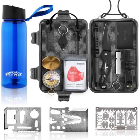 Wild Peak Prepare-1 Survival Tool Kit Bundle with Outdoor 4-Stage Water Filter Straw Emergency 22oz Bottle and Accessories (3 Items)...