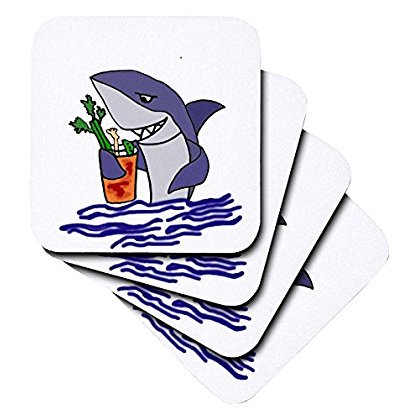 3dRose Funny Shark Drinking Bloody Mary Drink, Ceramic Tile Coasters, set of 4